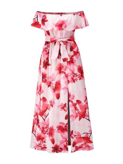 Bohemian Style Off Shoulder Waist Tie Floral Side Slit Maxi Dress