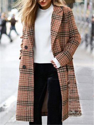 Women Fashion Plaid Lapel Woollen Coat