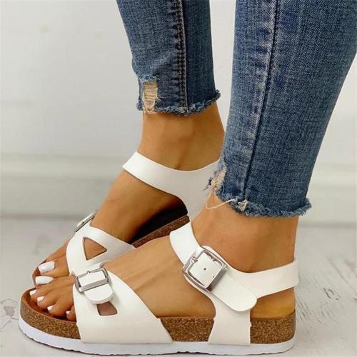 Women Vintage Open Toe Buckled Flat Sandals