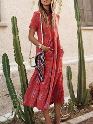 Pockets Cotton-Blend Short Sleeve Dresses