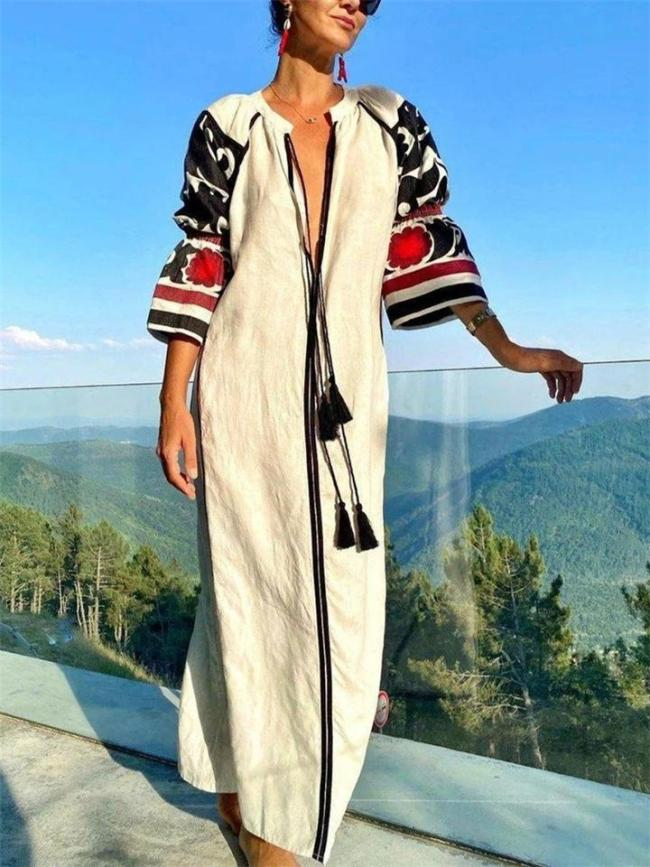 Exotic Soft Touch Stand Collar Column Silhouette Printed Sleeve Maxi Dress