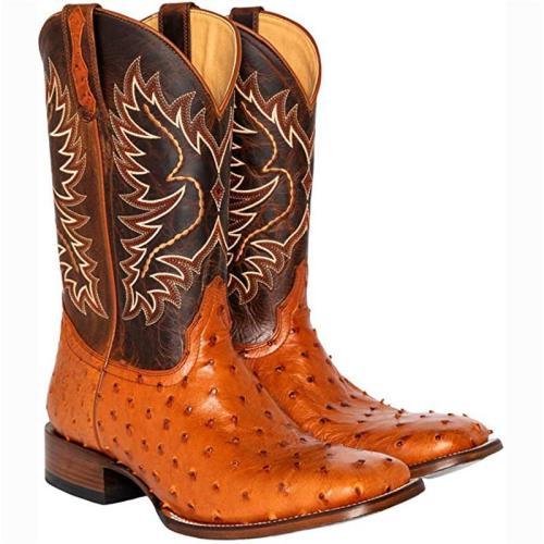 Retro Ostrich Tobacco Exotic Square Toe Western Cowboy Boots