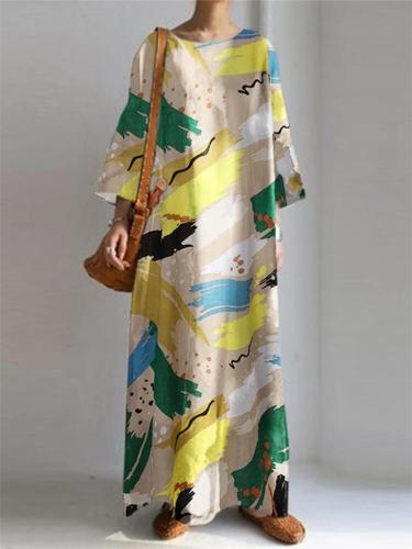 Oversized Scoop Neck Abstract Printed 3/4 Sleeve Maxi Dress