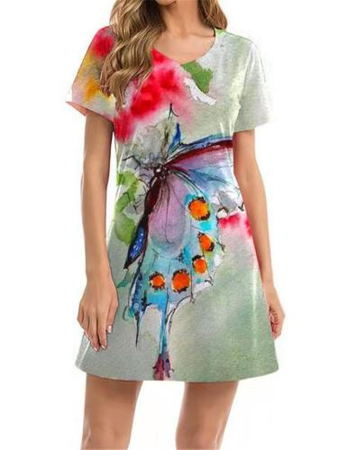 On-Trend Multicolor Natural Print Thigh-Length Short Sleeve Pullover Dress