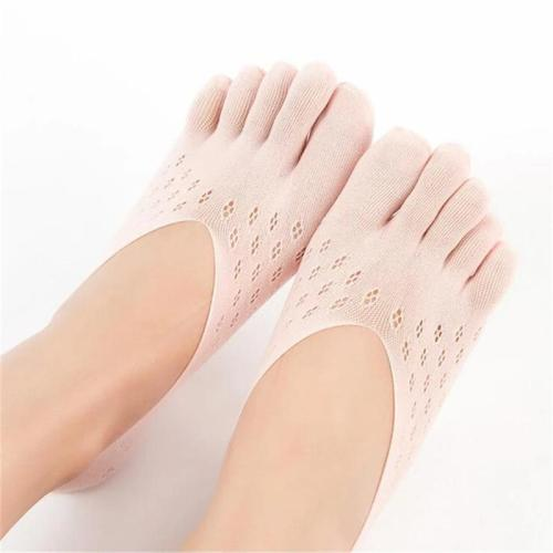 Women's Mesh Cotton 10-Pair Pack Five-Toe No Show Socks