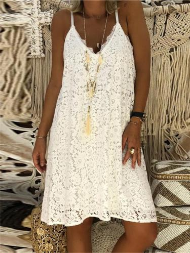 Women's Summer Sexy V-neck Strap Lace Dresses