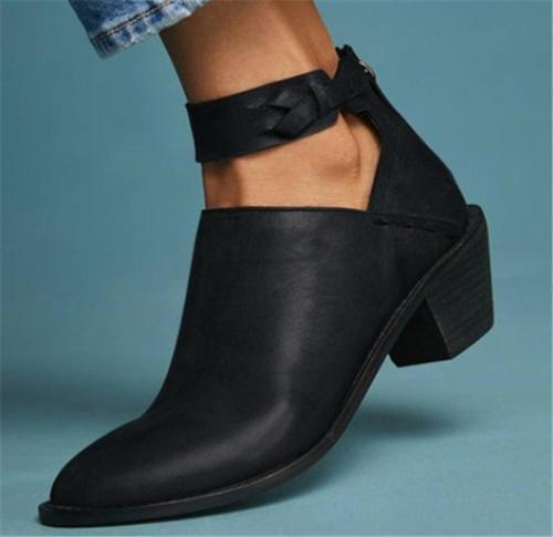 Women's Plus Size Chunky Heel Daily Zipper Booties