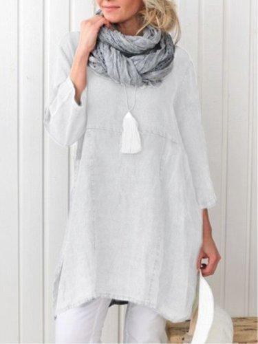 Casual Plain Long Sleeve Linen Plus Size Dress