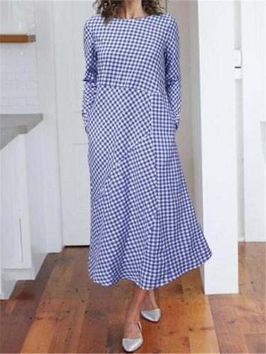 French Style Fashion Classic Plaid Patchwork Long Sleeve A-Line Dress