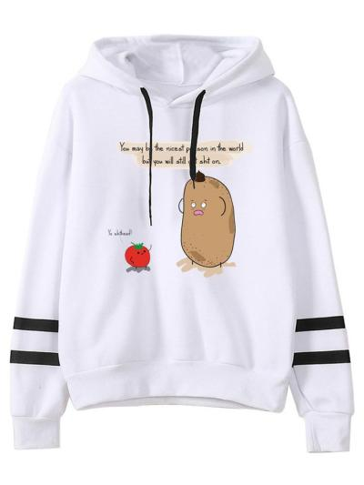 Casual Fit Stitch Printed Pullover Drawstring Hooded Sweatshirt