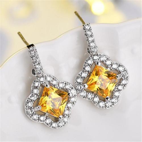 Stylish Zircon Square Shaped Dangled Earrings