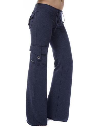 Casual Style Multi Pocket Stretchy Straight Wide Leg Pants