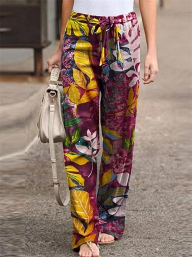 Stylish Floral Printing Waist Tie Wide-Leg Pants