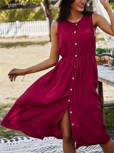 Casual Style Round Neck Button Up Sleeveless Drawstring Midi Dress