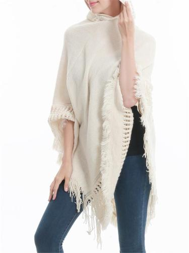 Women's Loose Hooded Tassel Knitted Pullover