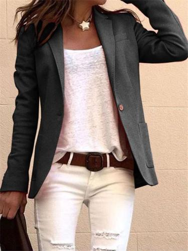 Women Solid Color Notched Collar Long Sleeves Blazer Coat