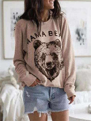 Loose Fit Bear Printed Long Sleeve Round Neck Shirts