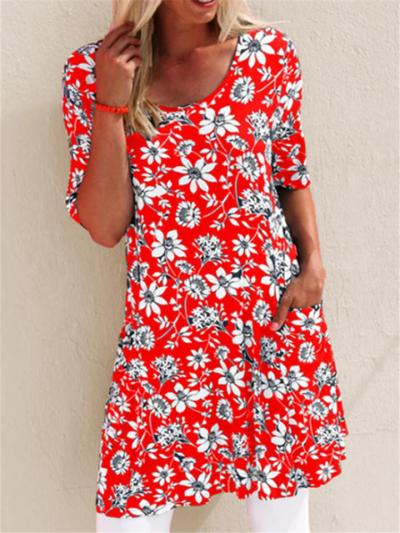 Relaxed Fit Round Neck Floral Printed Short Sleeve Pocket Midi Dress