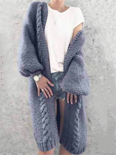 Relaxed Fit Ribbed Knit Long Cardigan Sweater
