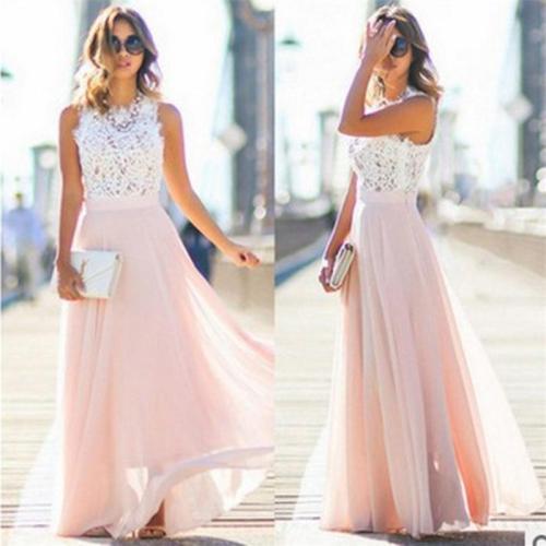 Lace Chiffon Maxi Dress