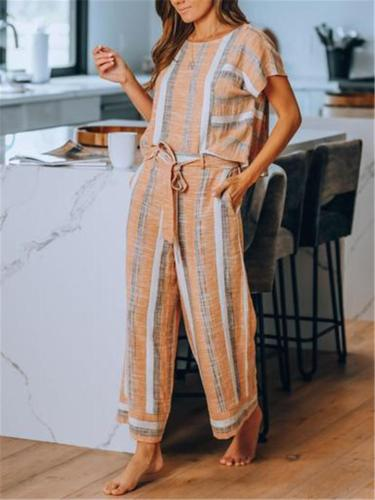 Comfy Linen Cotton Stripe Short Sleeve Sets T-shirt + Pants