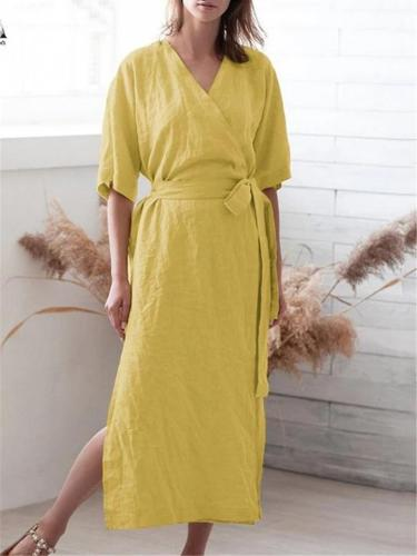 Casual Style Wrap V Neck Half Sleeve Side Slit Waist Tie Maxi Dress