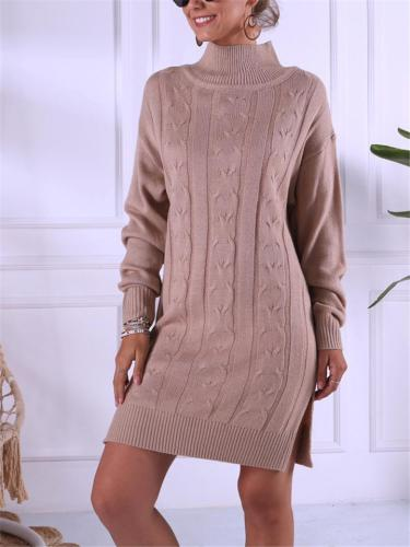 Casual High Neck Ribbed Knit Sweater Dress