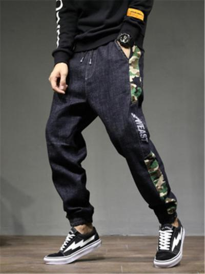 Men Plus SIze Hip Hop Elastane Harem Denim Pants