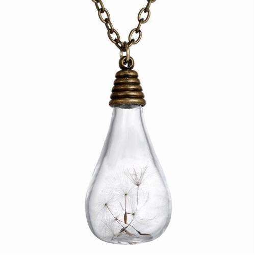 Bronze Dandelion Wishing Ball Vintage Pendant Necklaces for Women