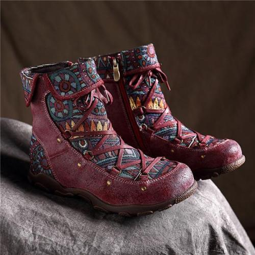 Beautiful Bohemian Lace Up Zipper Flat Ankle Boots