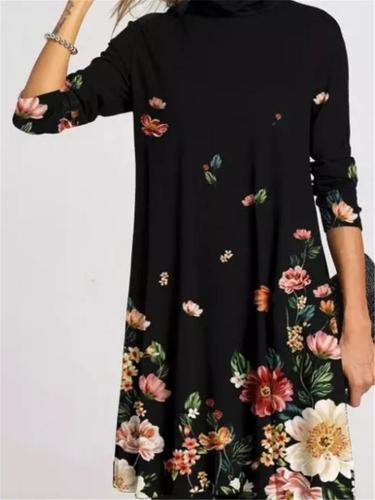 Relaxed Fit Turtleneck Long Sleeve Floral Printed Midi Dress