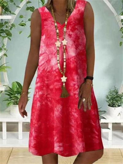Casual Fit V Neck Sleeveless Tie-Dye Pullover Midi Dress