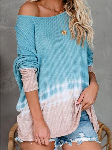 Casual Tie Dye Pull Over Sweater for Autumn