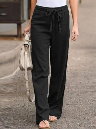 Summer Comfy Elastic Waist Loose Cotton Trousers