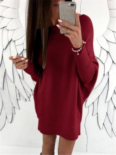 Comfortable Solid Color Long Sleeve Mini Sweater Dress
