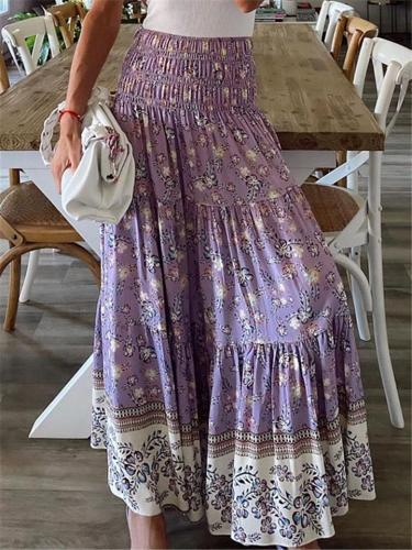 Pretty High-Waist Floral Pattern Pleated Maxi Skirt