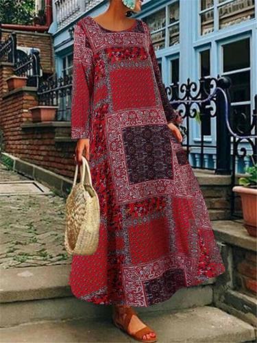 Bohemian Artsy Print Cotton Linen Long Sleeve Maxi Dress For Women