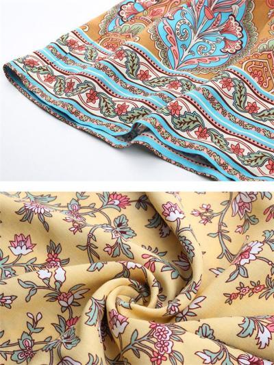 Trendy V Neck Floral Sleeveless Waist Drawstring Midi Dress