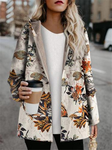Relaxed Fit Floral Print Long Sleeve Hoodie Cotton Coat