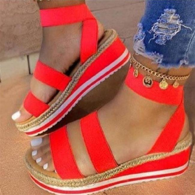 Casual Style Open-Toe Ankle Strap Platform Wedge Heel Sandals