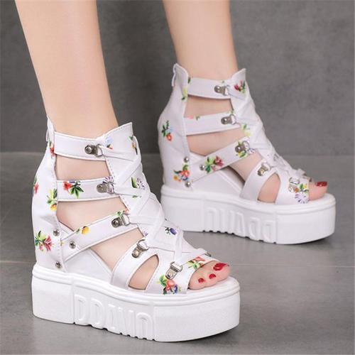 Pretty Floral Print Side Cutout Peep Toe High Platform Wedge Heel Sandals