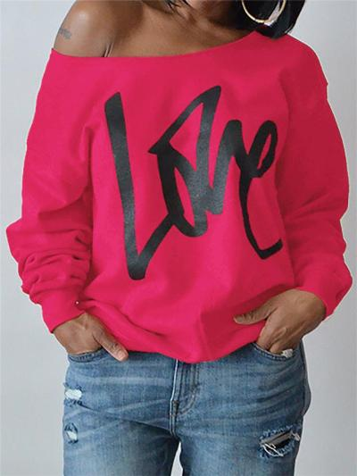 Loose Fit One Shoulder Letter Printed Long Sleeve Pullover Tops