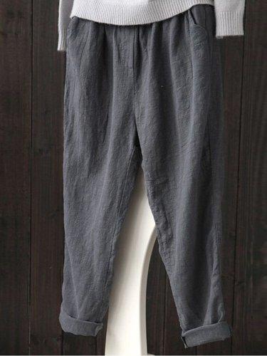 Comfy Linen Shift Shirred Plus Size Pants