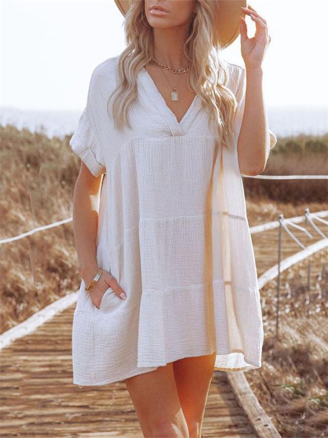 Minimalist Style V Neck Short Sleeve Pleated Pullover Mini Dress