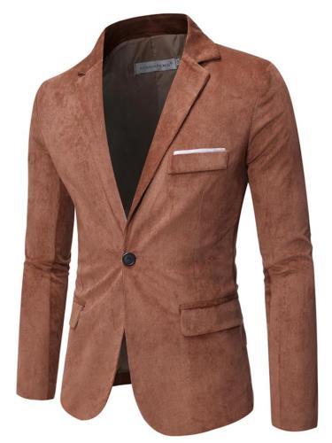 Mens Fashion Corduroy Business Casual Suit