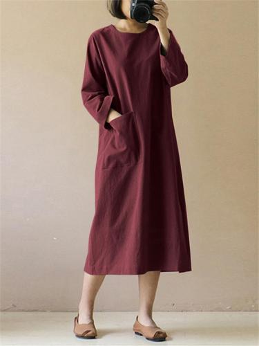 Loose Fit Cotton Linen Long Sleeve Side Slit Pocket Maxi Dress