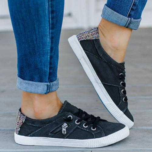 Side Zippers Lace Up Flat Canvas Shoes