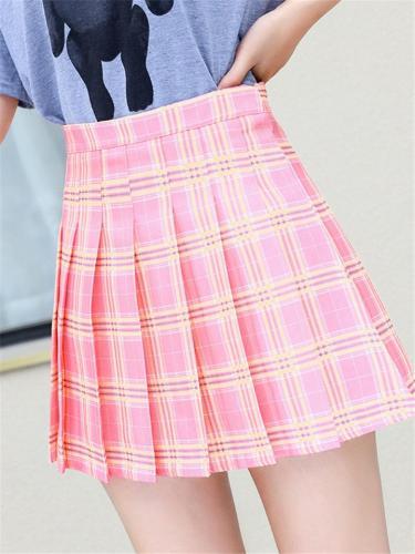 Stylish Summer High-Rise Plaid Pleated Lined Mini Skirt