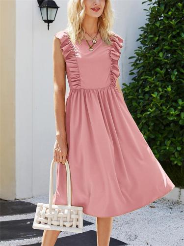 Pretty Round Neck Ruffle Design Sleeveless Pleated Flare Midi Dress