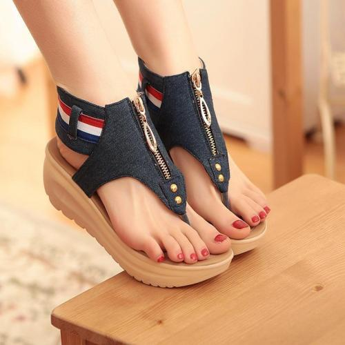 Denim Zipper Flip Flops Sandals Beach Shoes